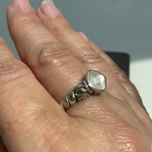 Jai Sterling silver ring w/14k yellow gold accent